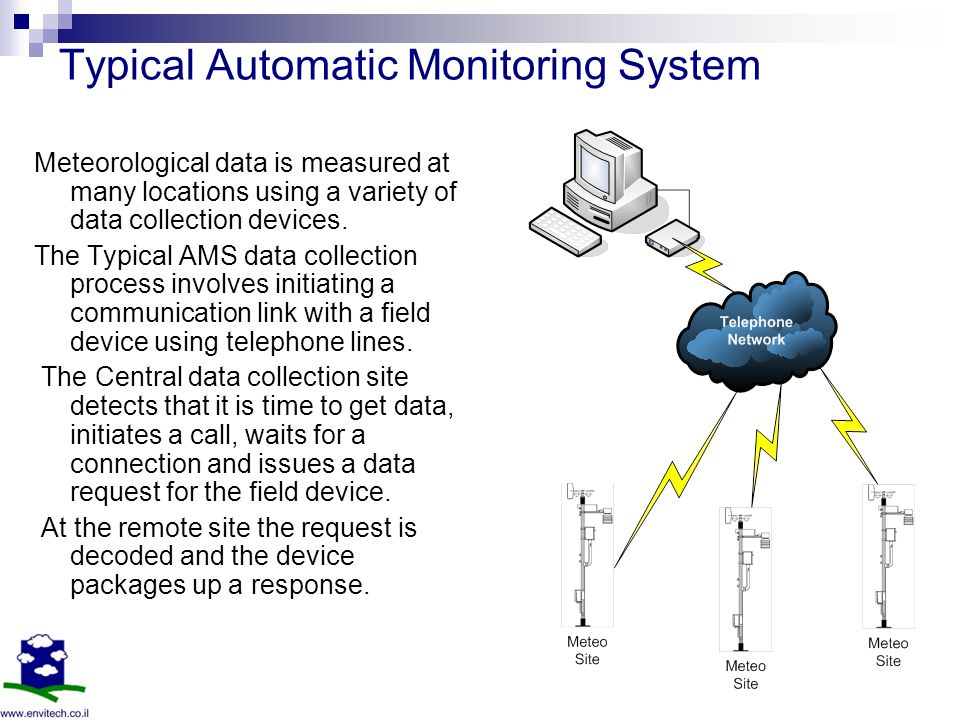 Typical Automatic Monitoring System Meteorological data is measured at many locations using a variety of data collection devices.