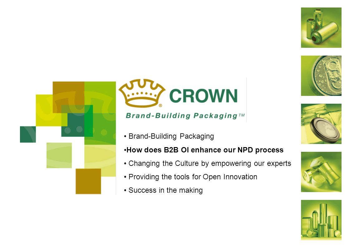 Brand-Building Packaging How does B2B OI enhance our NPD process Changing the Culture by empowering our experts Providing the tools for Open Innovation Success in the making