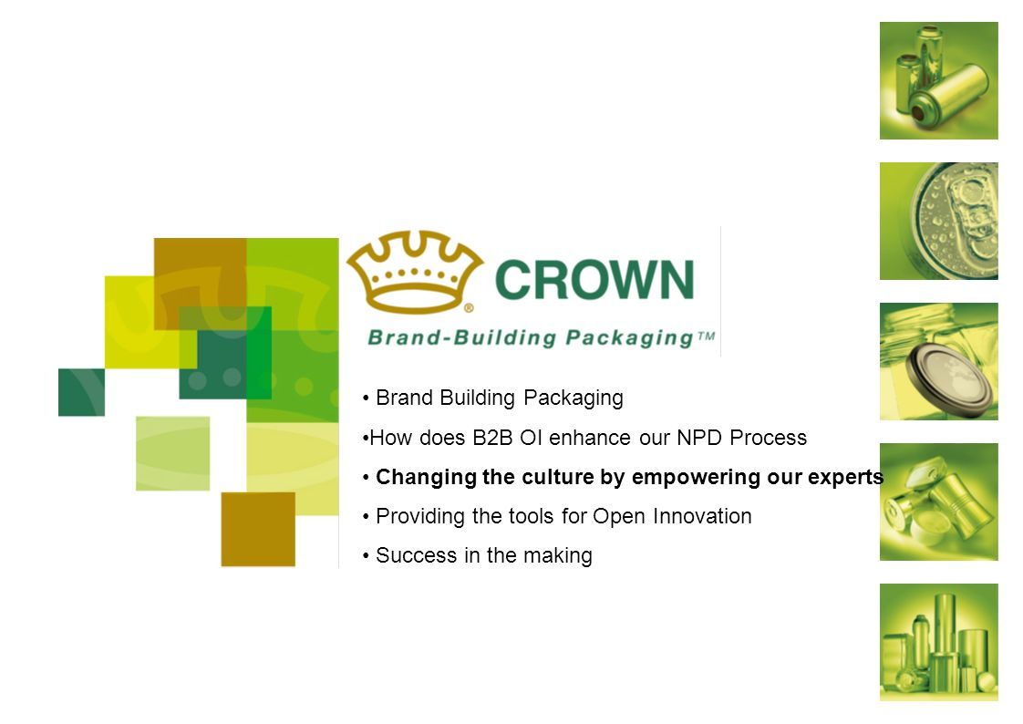 Brand Building Packaging How does B2B OI enhance our NPD Process Changing the culture by empowering our experts Providing the tools for Open Innovation Success in the making