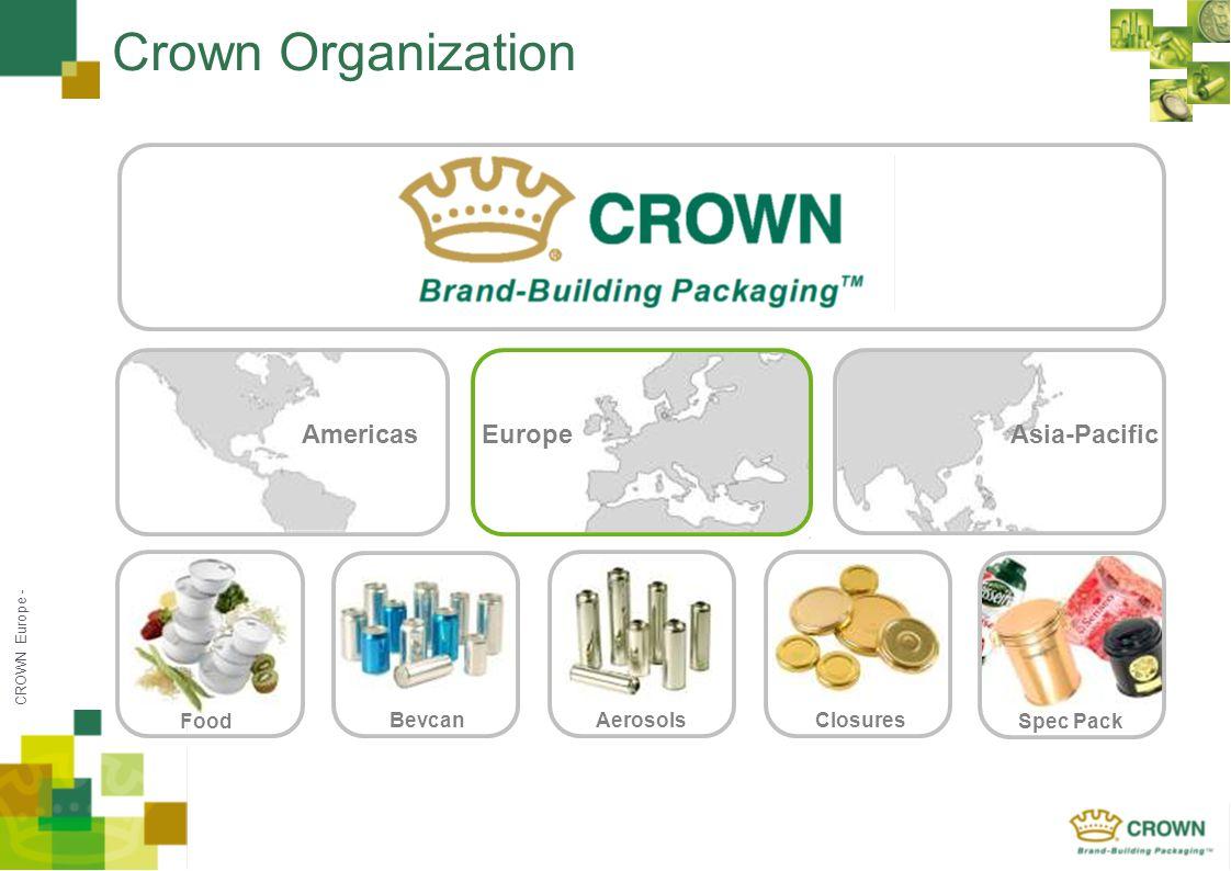 CROWN Europe - Crown Organization Americas FoodSpec Pack ClosuresAerosolsBevcan Asia-PacificEurope