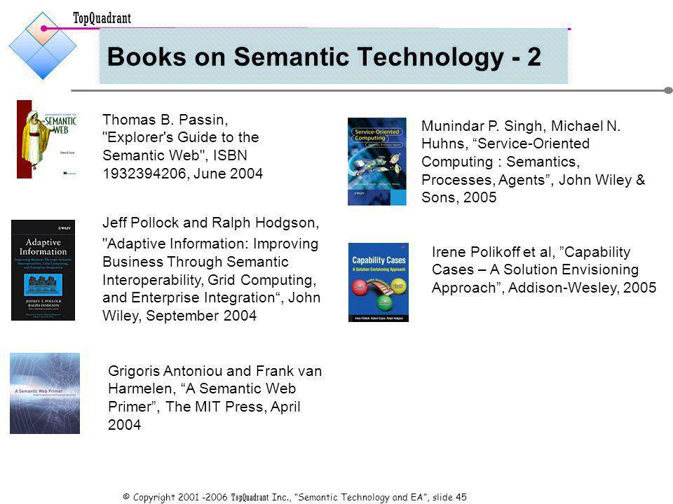 TopQuadrant © Copyright 2001 -2006 TopQuadrant Inc., Semantic Technology and EA, slide 45 Books on Semantic Technology - 2 Thomas B.
