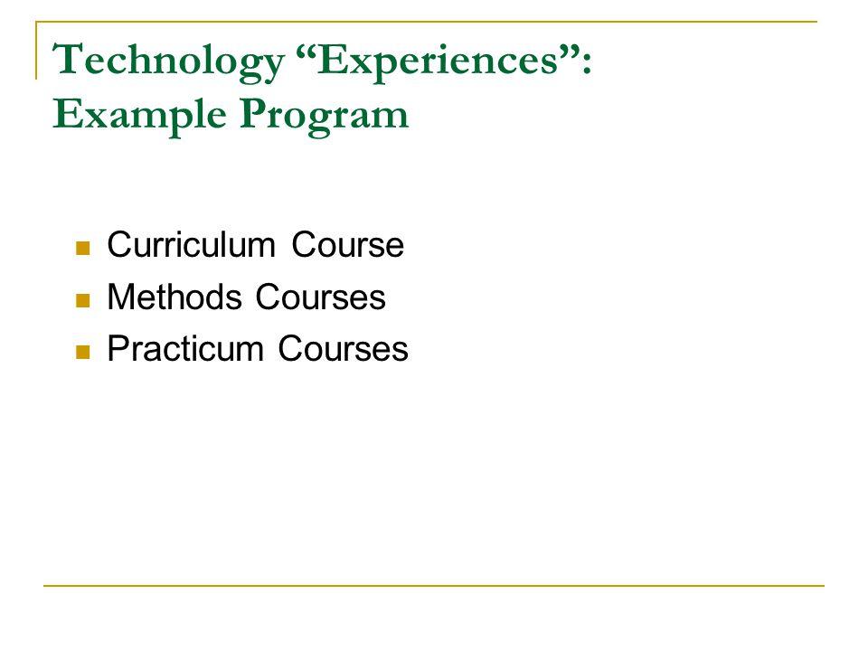 Technology Experiences: Example Program Curriculum Course Methods Courses Practicum Courses