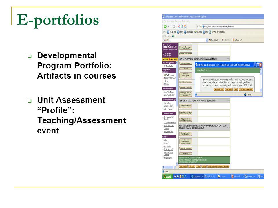 E-portfolios Developmental Program Portfolio: Artifacts in courses Unit Assessment Profile: Teaching/Assessment event