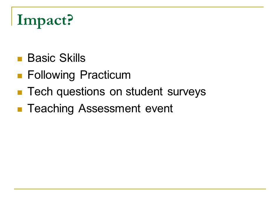 Impact? Basic Skills Following Practicum Tech questions on student surveys Teaching Assessment event