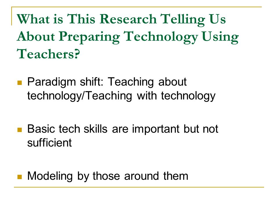 What is This Research Telling Us About Preparing Technology Using Teachers.