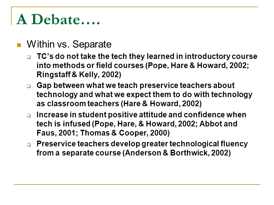 A Debate….Within vs.