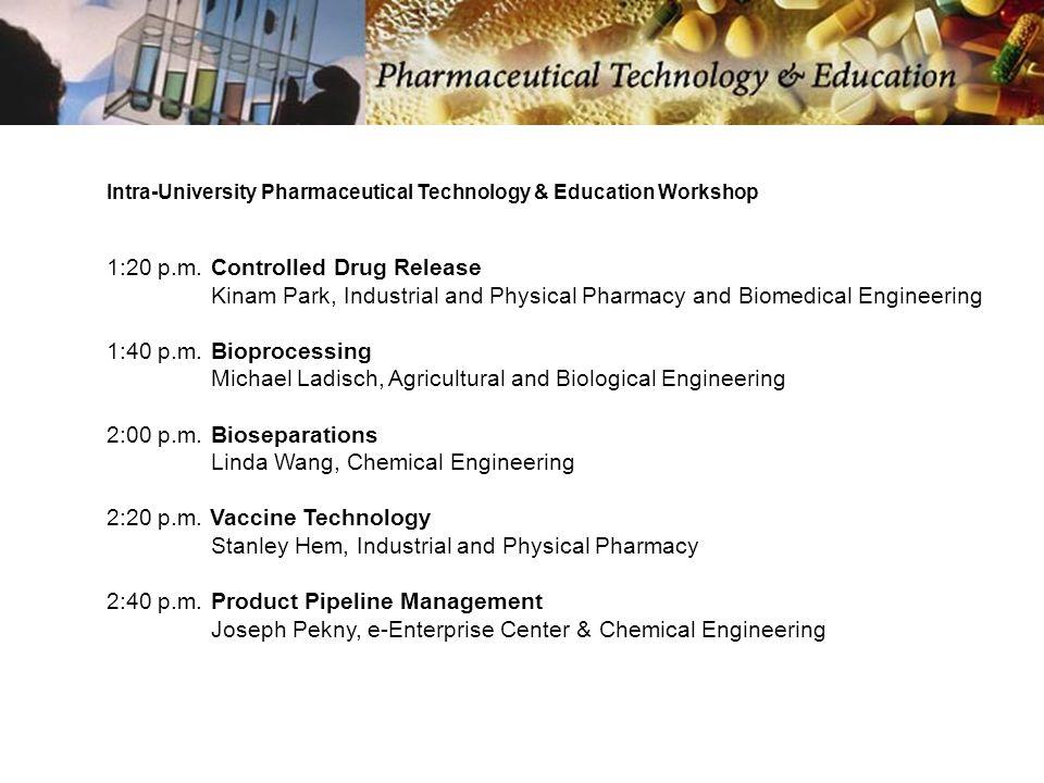 Intra-University Pharmaceutical Technology & Education Workshop 1:20 p.m.