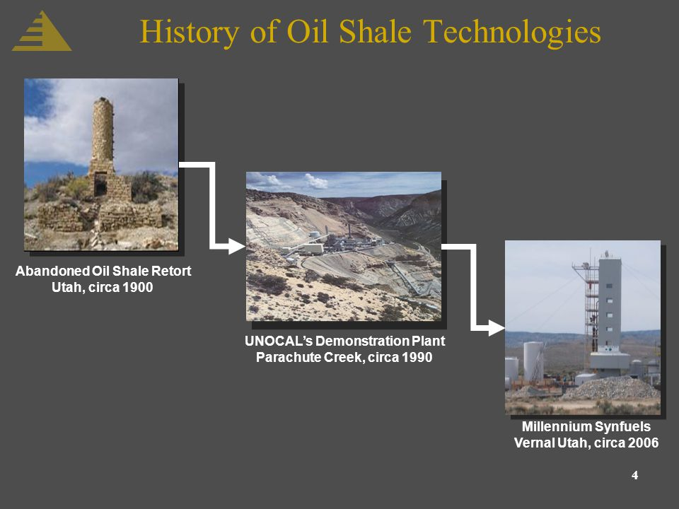 4 History of Oil Shale Technologies Abandoned Oil Shale Retort Utah, circa 1900 UNOCALs Demonstration Plant Parachute Creek, circa 1990 Millennium Synfuels Vernal Utah, circa 2006