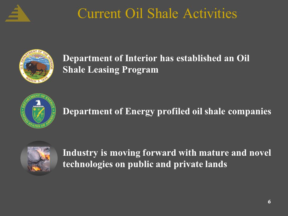6 Current Oil Shale Activities Department of Interior has established an Oil Shale Leasing Program Department of Energy profiled oil shale companies Industry is moving forward with mature and novel technologies on public and private lands