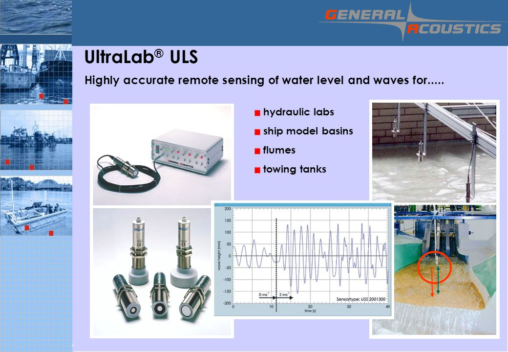 © 2006 GENERAL ACOUSTICS GmbH Your Creative and Innovative Technology Company since 1996 UltraLab ® ULS Highly accurate remote sensing of water level and waves for.....