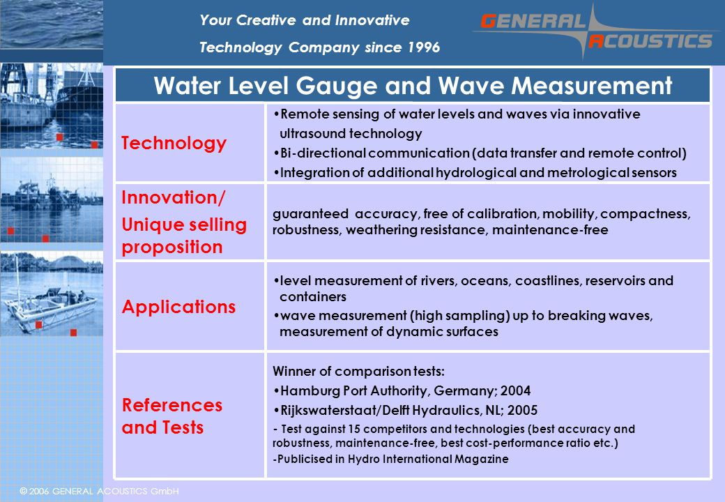© 2006 GENERAL ACOUSTICS GmbH Your Creative and Innovative Technology Company since 1996 level measurement of rivers, oceans, coastlines, reservoirs and containers wave measurement (high sampling) up to breaking waves, measurement of dynamic surfaces Applications Winner of comparison tests: Hamburg Port Authority, Germany; 2004 Rijkswaterstaat/Delft Hydraulics, NL; 2005 - Test against 15 competitors and technologies (best accuracy and robustness, maintenance-free, best cost-performance ratio etc.) -Publicised in Hydro International Magazine References and Tests guaranteed accuracy, free of calibration, mobility, compactness, robustness, weathering resistance, maintenance-free Innovation/ Unique selling proposition Remote sensing of water levels and waves via innovative ultrasound technology Bi-directional communication (data transfer and remote control) Integration of additional hydrological and metrological sensors Technology Water Level Gauge and Wave Measurement
