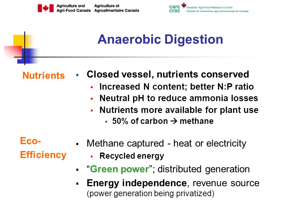 Nutrients Closed vessel, nutrients conserved Increased N content; better N:P ratio Neutral pH to reduce ammonia losses Nutrients more available for plant use 50% of carbon methane Eco- Efficiency Methane captured - heat or electricity Recycled energy Green power; distributed generation Energy independence, revenue source (power generation being privatized)