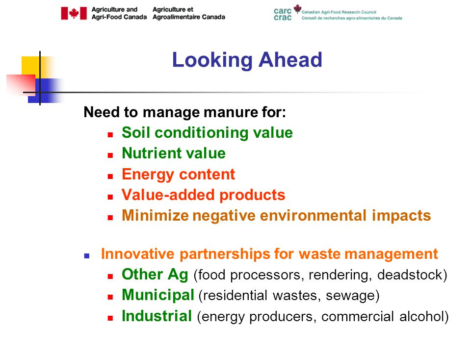 Need to manage manure for: Soil conditioning value Nutrient value Energy content Value-added products Minimize negative environmental impacts Innovative partnerships for waste management Other Ag (food processors, rendering, deadstock) Municipal (residential wastes, sewage) Industrial (energy producers, commercial alcohol) Looking Ahead