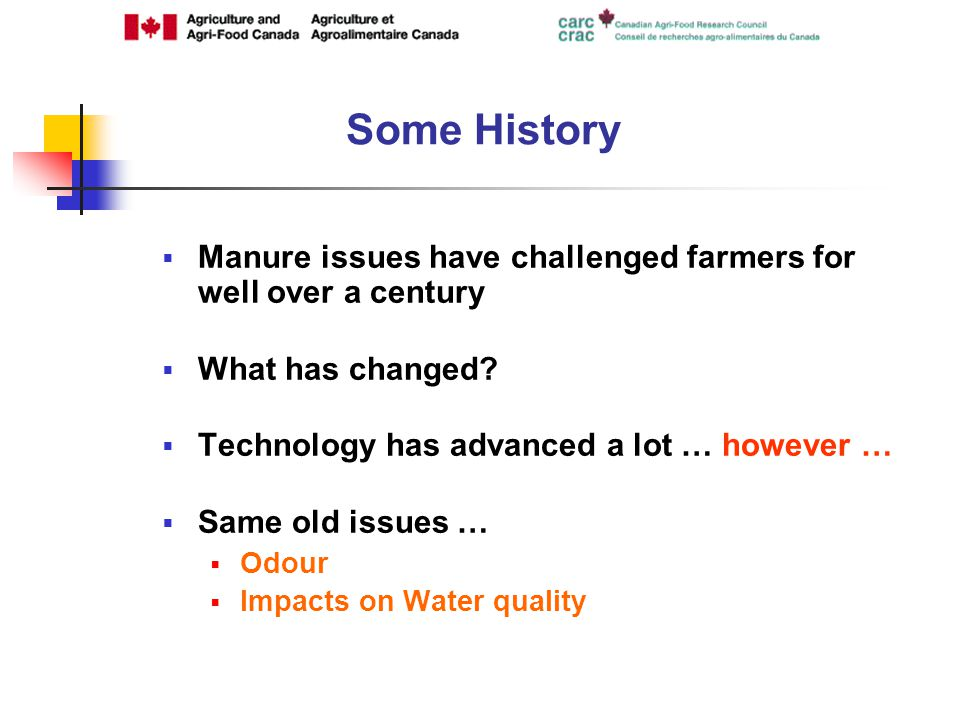 Some History Manure issues have challenged farmers for well over a century What has changed.