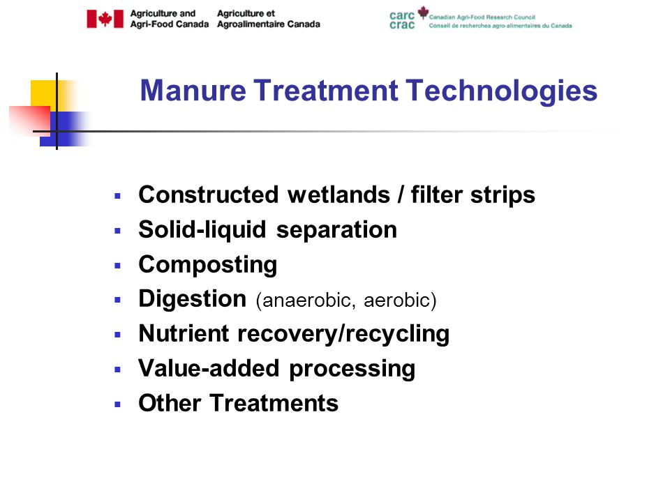 Constructed wetlands / filter strips Solid-liquid separation Composting Digestion (anaerobic, aerobic) Nutrient recovery/recycling Value-added processing Other Treatments Manure Treatment Technologies