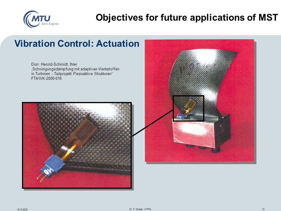 16.10.2003 Dr. F. Grauer, MTPG 13 Dürr, Herold-Schmidt, Ihler Schwingungsdämpfung mit adaptiven Werkstoffen in Turbinen - Teilprojekt Piezoaktive Stru