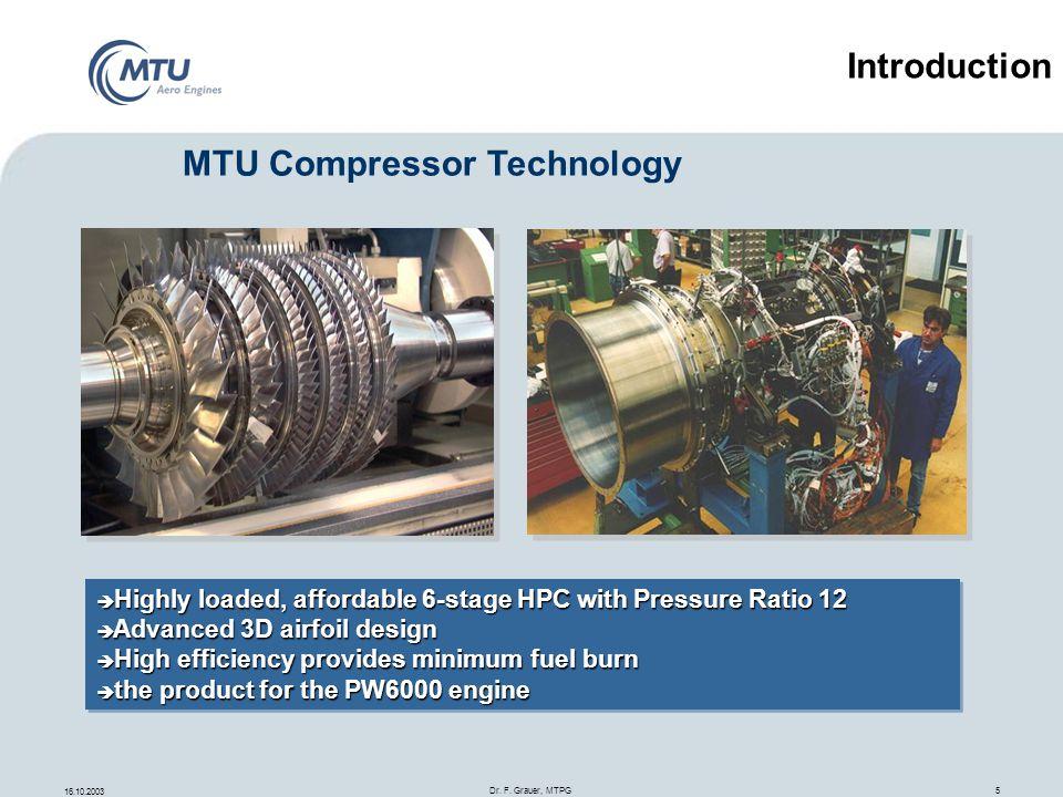16.10.2003 Dr. F. Grauer, MTPG 5 Highly loaded, affordable 6-stage HPC with Pressure Ratio 12 Highly loaded, affordable 6-stage HPC with Pressure Rati