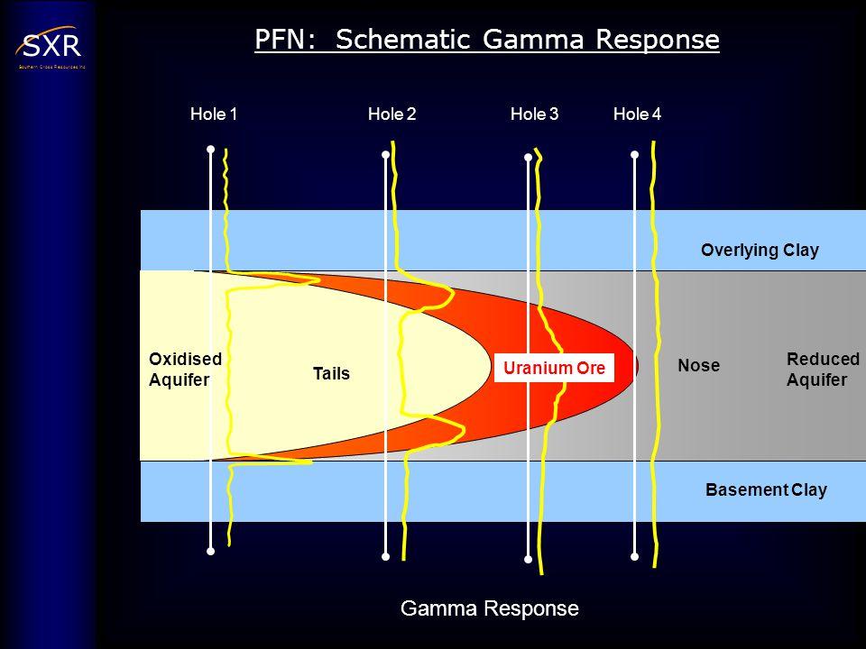 SXR Southern Cross Resources Inc Hole 1 Reduced Aquifer Basement Clay Overlying Clay Nose Tails Uranium Ore Oxidised Aquifer Gamma Response PFN: Schem