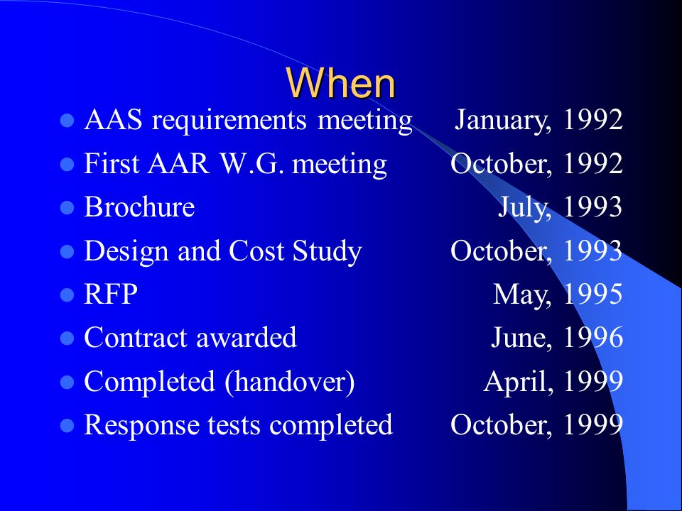 When AAS requirements meeting First AAR W.G.