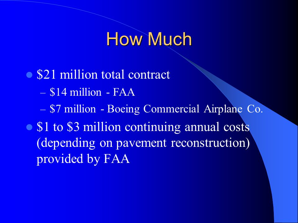 How Much $21 million total contract – $14 million - FAA – $7 million - Boeing Commercial Airplane Co.