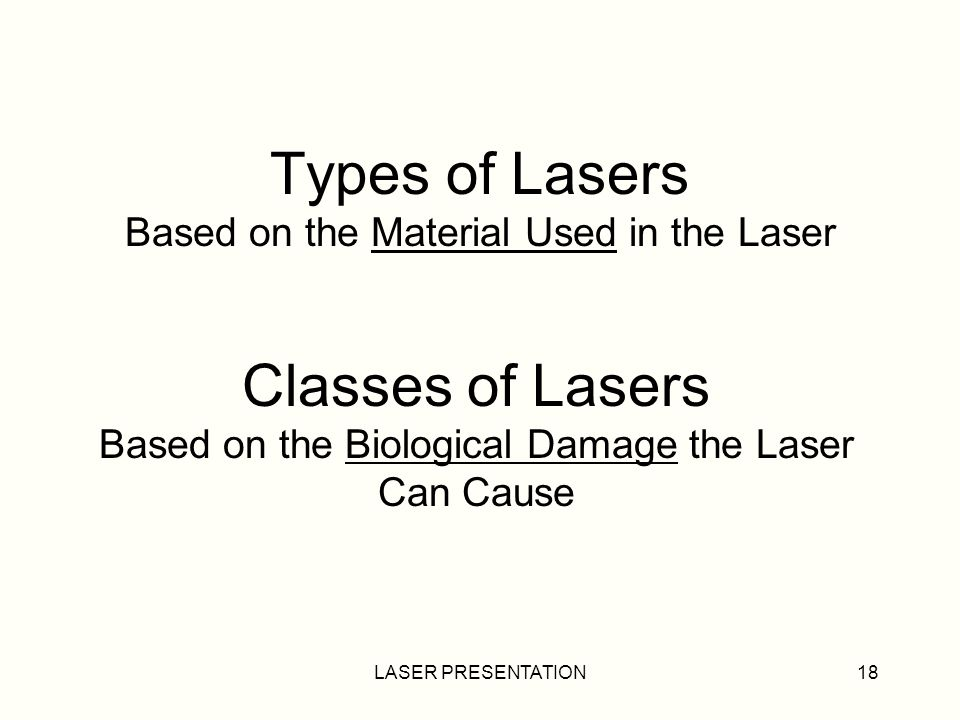 LASER PRESENTATION18 Types of Lasers Based on the Material Used in the Laser Classes of Lasers Based on the Biological Damage the Laser Can Cause
