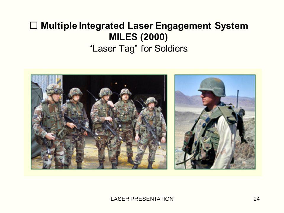 LASER PRESENTATION24 Multiple Integrated Laser Engagement System MILES (2000) Laser Tag for Soldiers