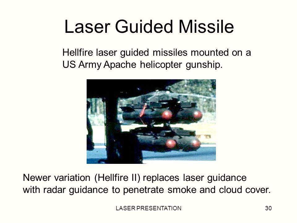 LASER PRESENTATION30 Laser Guided Missile Hellfire laser guided missiles mounted on a US Army Apache helicopter gunship.