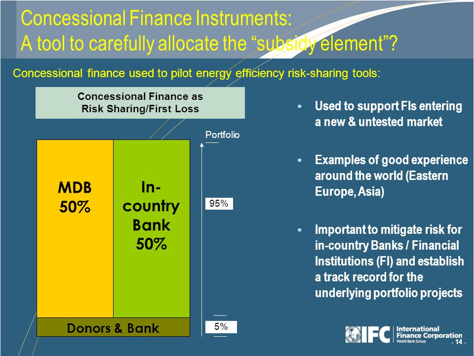 - 14 - Concessional Finance Instruments: A tool to carefully allocate the subsidy element.