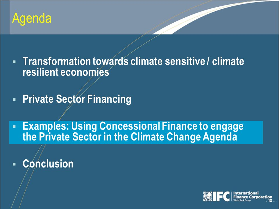 - 18 - Agenda Transformation towards climate sensitive / climate resilient economies Private Sector Financing Examples: Using Concessional Finance to engage the Private Sector in the Climate Change Agenda Conclusion