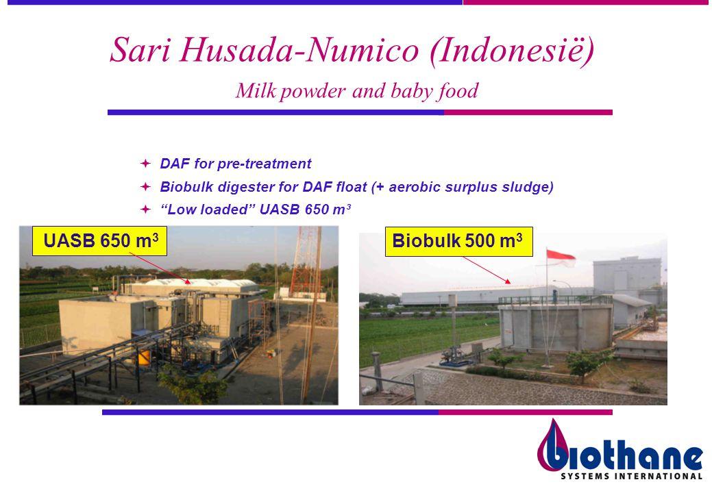 Sari Husada-Numico (Indonesië) Milk powder and baby food DAF for pre-treatment Biobulk digester for DAF float (+ aerobic surplus sludge) Low loaded UA