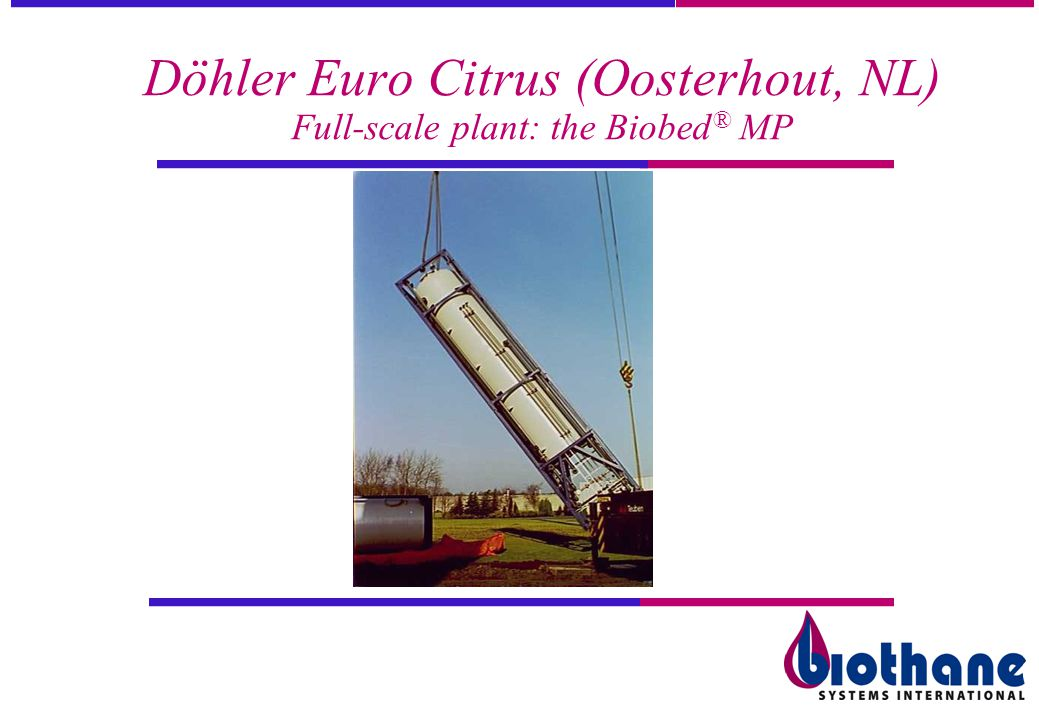 Döhler Euro Citrus (Oosterhout, NL) Full-scale plant: the Biobed ® MP
