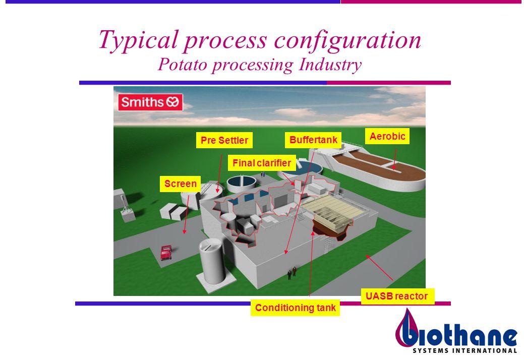 Typical process configuration Potato processing Industry UASB reactor Pre Settler Screen Buffertank Conditioning tank Final clarifier Aerobic