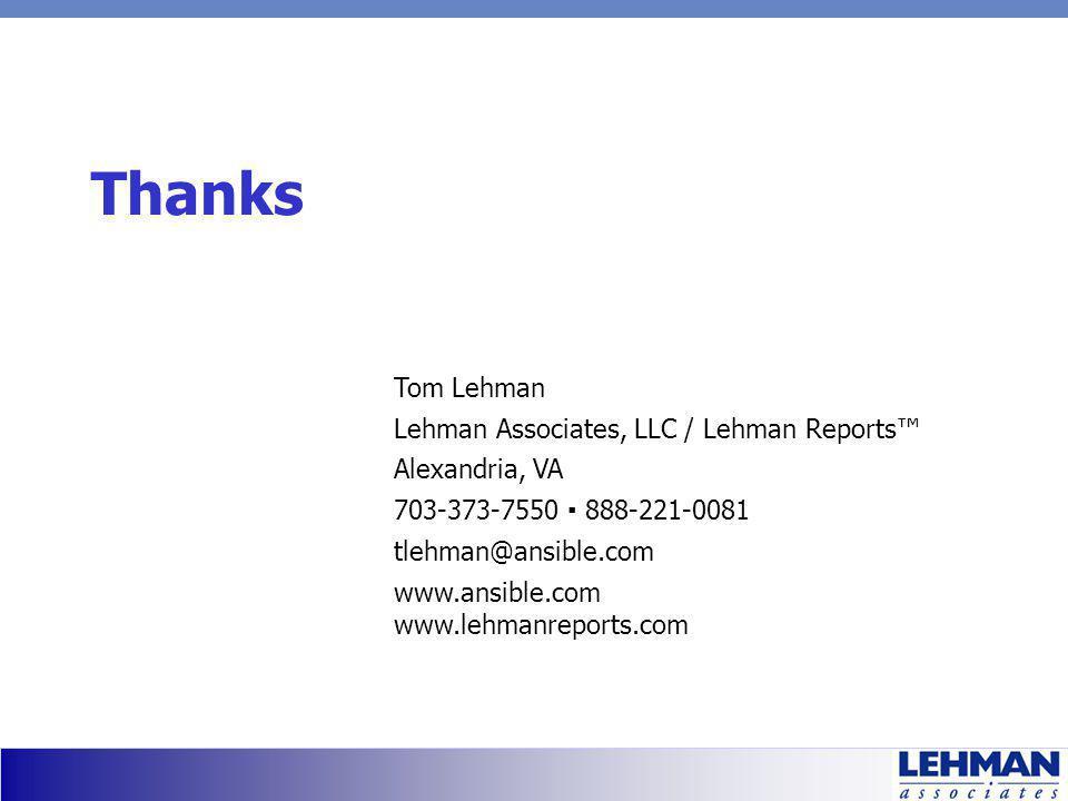 Thanks Tom Lehman Lehman Associates, LLC / Lehman Reports Alexandria, VA 703-373-7550 888-221-0081 tlehman@ansible.com www.ansible.com www.lehmanreports.com