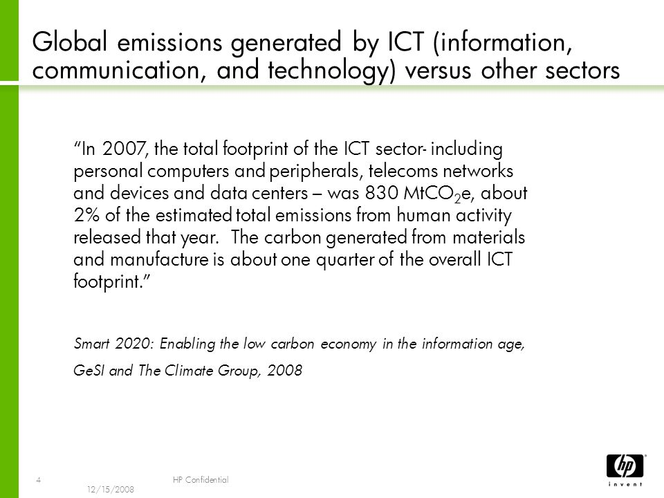 4 12/15/2008 HP Confidential Global emissions generated by ICT (information, communication, and technology) versus other sectors In 2007, the total footprint of the ICT sector- including personal computers and peripherals, telecoms networks and devices and data centers – was 830 MtCO 2 e, about 2% of the estimated total emissions from human activity released that year.