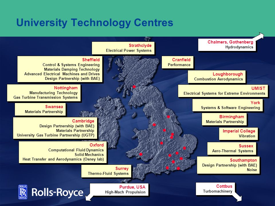Rolls-Royce Research & Technology funding UTC Funding today: Rolls-Royce – PV Money guaranteed for a number of years EPSRC – paid directly to the University DTI – paid into a holding account and matched approx.