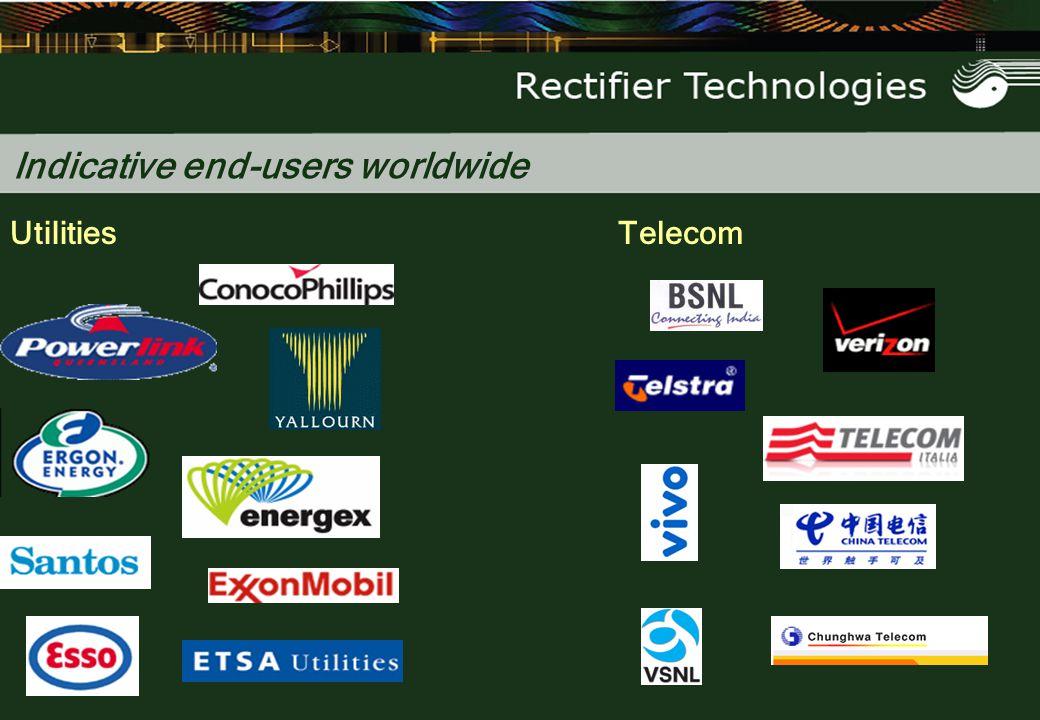Indicative end-users worldwide UtilitiesTelecom