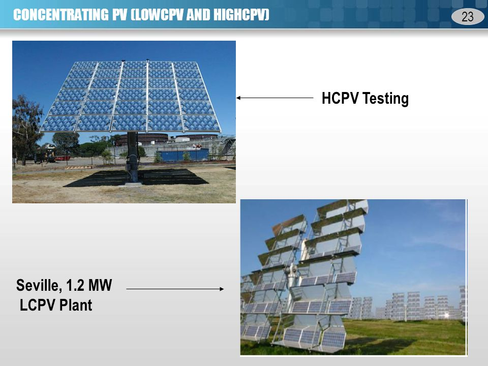 23 CONCENTRATING PV (LOWCPV AND HIGHCPV) Seville, 1.2 MW LCPV Plant HCPV Testing