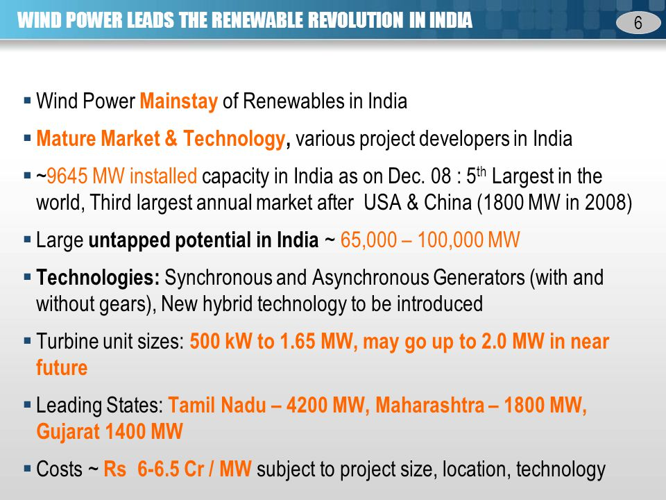6 WIND POWER LEADS THE RENEWABLE REVOLUTION IN INDIA Wind Power Mainstay of Renewables in India Mature Market & Technology, various project developers in India ~9645 MW installed capacity in India as on Dec.