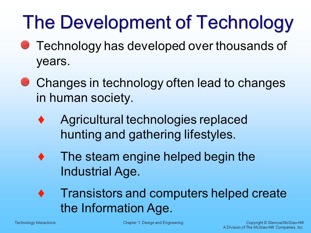 Technology InteractionsChapter 1 Design and Engineering Copyright © Glencoe/McGraw-Hill A Division of The McGraw-Hill Companies, Inc. The Development