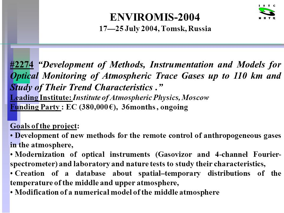 ENVIROMIS-2004 1725 July 2004, Tomsk, Russia #2274 Development of Methods, Instrumentation and Models for Optical Monitoring of Atmospheric Trace Gases up to 110 km and Study of Their Trend Characteristics.