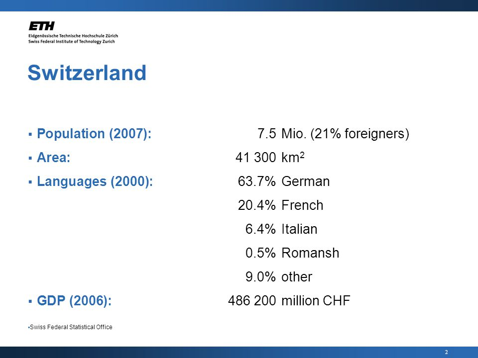 2 Switzerland Population (2007):7.5Mio.