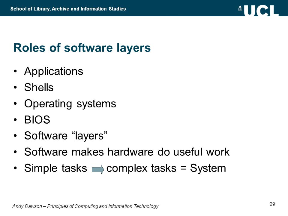Andy Dawson – Principles of Computing and Information Technology School of Library, Archive and Information Studies 29 Roles of software layers Applications Shells Operating systems BIOS Software layers Software makes hardware do useful work Simple tasks complex tasks = System
