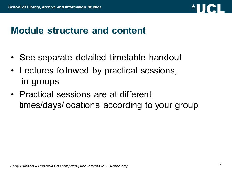 Andy Dawson – Principles of Computing and Information Technology School of Library, Archive and Information Studies 18 Systems and subsystems