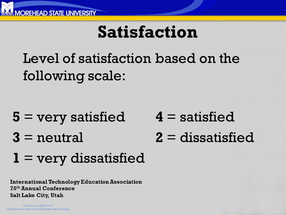 Satisfaction Level of satisfaction based on the following scale: 5 = very satisfied 4 = satisfied 3 = neutral 2 = dissatisfied 1 = very dissatisfied International Technology Education Association 70 th Annual Conference Salt Lake City, Utah