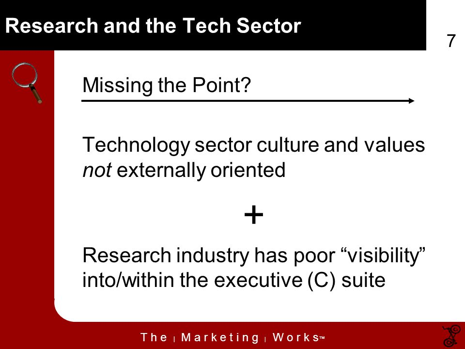 T h e | M a r k e t i n g | W o r k s 7 Research and the Tech Sector Missing the Point.