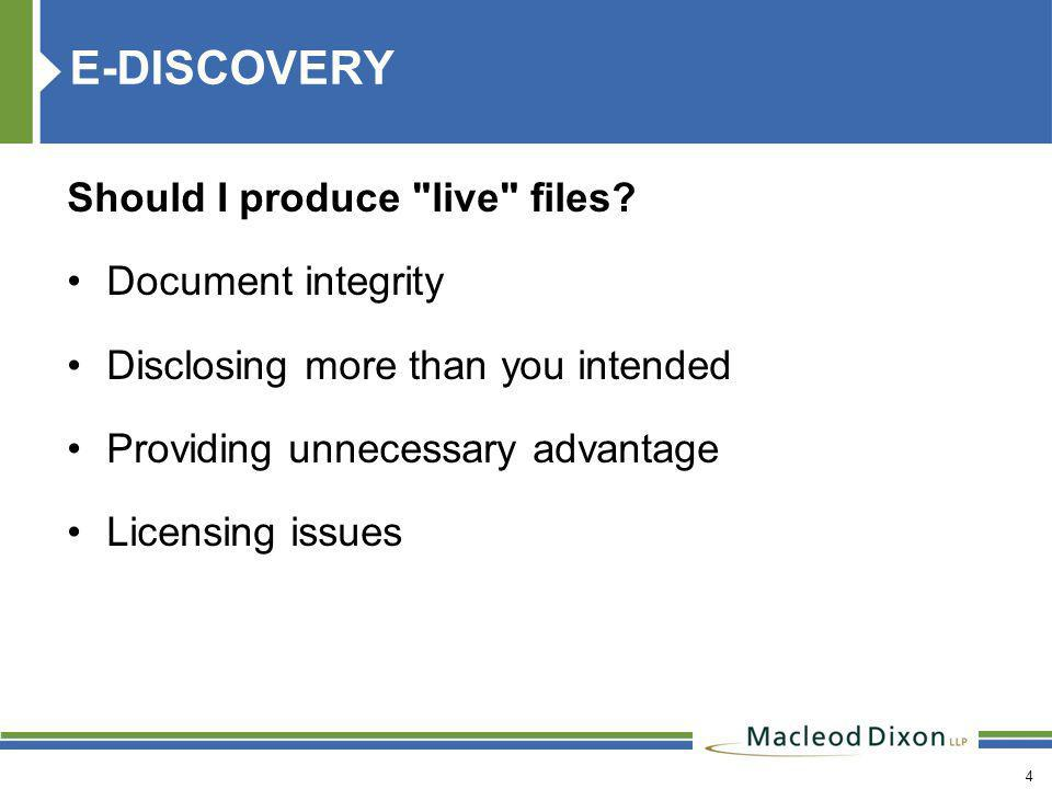 4 E-DISCOVERY Should I produce live files.