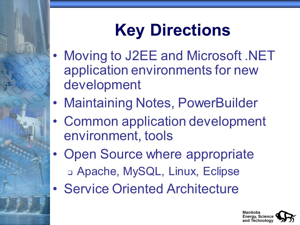 Key Directions Moving to J2EE and Microsoft.NET application environments for new development Maintaining Notes, PowerBuilder Common application development environment, tools Open Source where appropriate q Apache, MySQL, Linux, Eclipse Service Oriented Architecture
