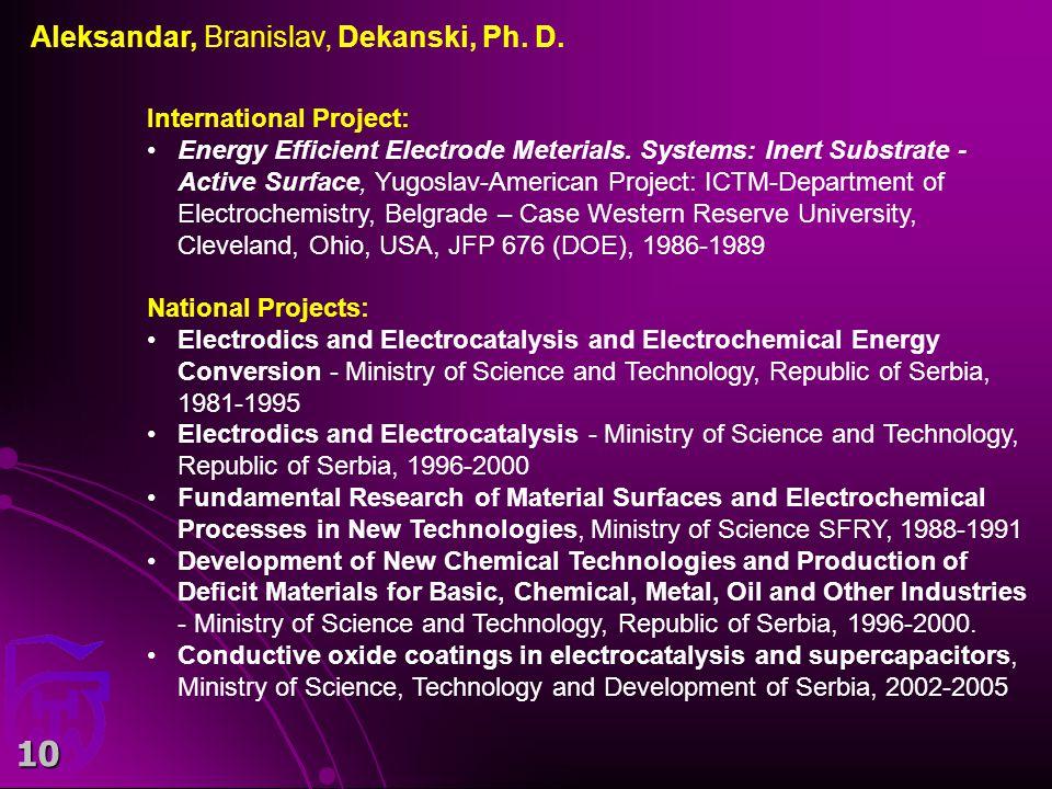 10 International Project: Energy Efficient Electrode Meterials.