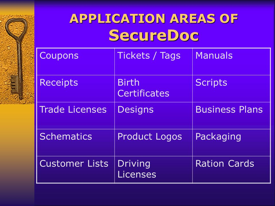 APPLICATION AREAS OF SecureDoc CouponsTickets / TagsManuals ReceiptsBirth Certificates Scripts Trade LicensesDesignsBusiness Plans SchematicsProduct LogosPackaging Customer ListsDriving Licenses Ration Cards