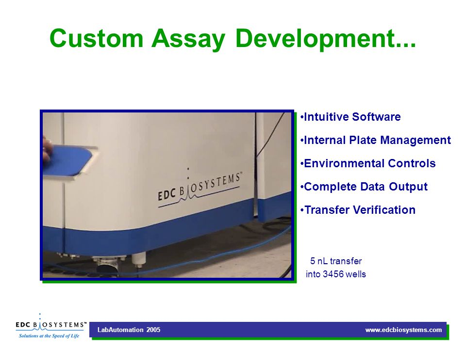 LabAutomation 2005 www.edcbiosystems.com Complete Screening Solutions...